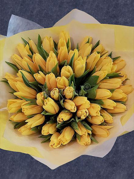 доставка цветов по Москве - Букет желтых тюльпанов