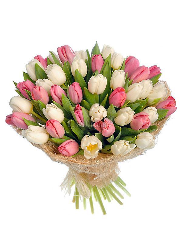 Букет 51 тюльпан / доставка цветов бесплатно по Москве (в пределах МКАД).