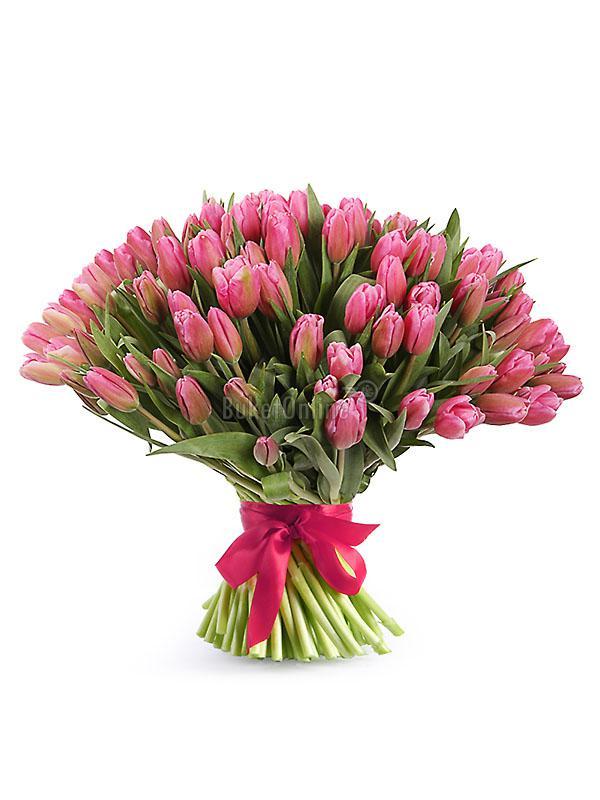 Букет 101 тюльпан / доставка цветов бесплатно по Москве (в пределах МКАД).