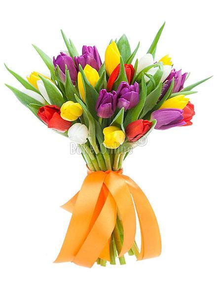 Букет Корпоративный букет тюльпанов / доставка цветов бесплатно по Москве (в пределах МКАД).