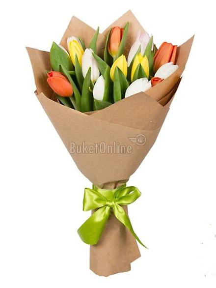 Букет Тюльпаны / доставка цветов бесплатно по Москве (в пределах МКАД).