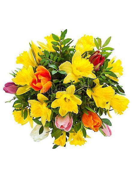 доставка цветов по Москве - Корпоративный букет из нарциссов и тюльпанов