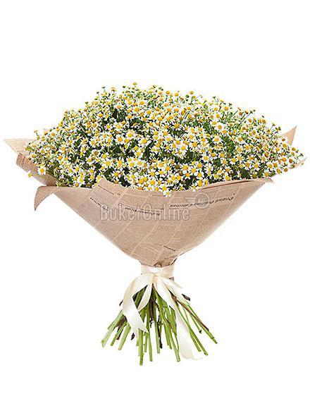 Букет Ромашковый рай / доставка цветов бесплатно по Москве (в пределах МКАД).