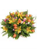 Взрыв радости - букет из тюльпанов и орхидей