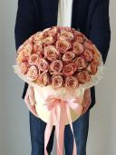 Коробка с розой Каппучино - средняя